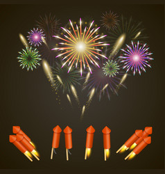 Firework rocket set art cover vector