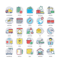 flat icons set of logistics delivery vector image
