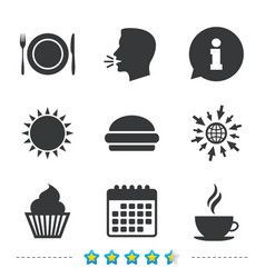 food icons muffin cupcake symbol fork knife vector image