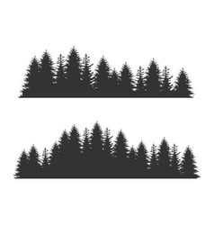 Forest fir trees silhouettes coniferous spruce vector
