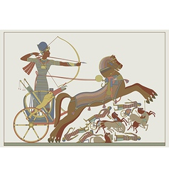 Fresco of the pharaoh ramses in a battle vector