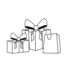 gift boxes and shopping bag flat design vector image