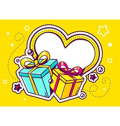 Gift boxes with heart on yellow backgroun vector