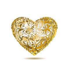 Gold Openwork Floral Heart vector