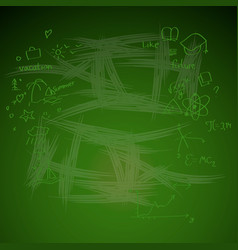 green chalkboard background with doodle drawing vector image