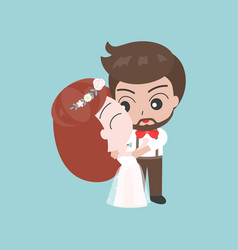 groom hugging bride cute character for use as vector image