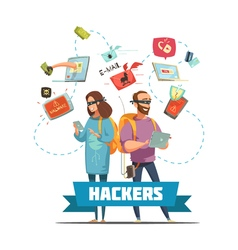 Hackers Criminals Cartoon Composition Poster vector