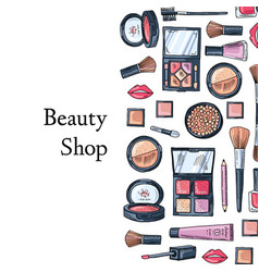 Hand drawn makeup products background vector