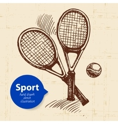 Hand drawn sport object sketch tennis racquets vector