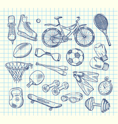 Hand drawn sports equipment vector