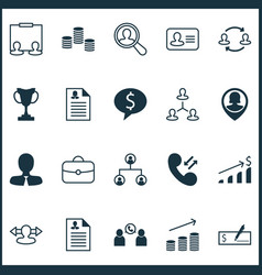 hr icons set with partnership curriculum vitae vector image