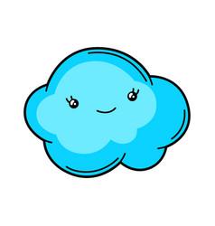 Kawaii cute cloud vector