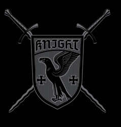 Knight design crossed knightly sword and heraldic vector