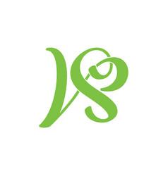 letter vs curves linked loop spiral logo vector image