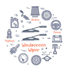 Linear round banner of windscreen wipers vector