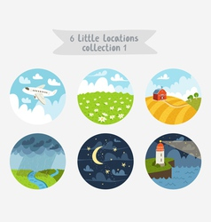 Little locations collection 1 vector image
