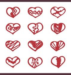 Love set unique hand drawn icons romantic vector