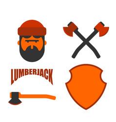 lumberjack icon set woodcutter sign lumberman vector image