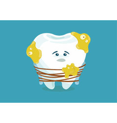Many bacteria tooth sad vector