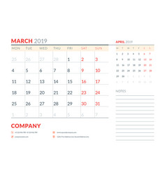 march 2019 week starts on monday calendar planner vector image