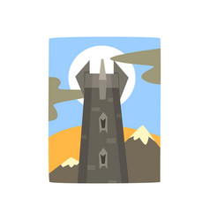 Medieval fantasy castle in mountains landscape vector