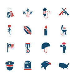 memorial day icon set vector image