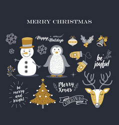 merry christmas cute decoration elements retro set vector image