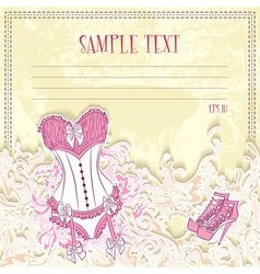 Message card with corset underwear vector image