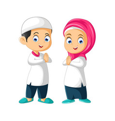 Muslim couple kids cartoon vector