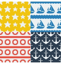 Nautical seamless patterns set in flat design vector image