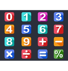Numbers and math long shadow icons set vector
