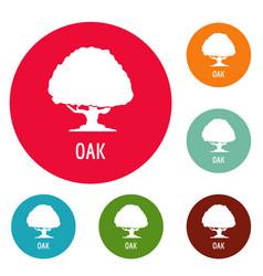 oak tree icons circle set vector image