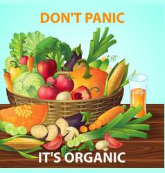 Organic vegetables basket background vector