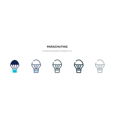 parachuting icon in different style two colored vector image