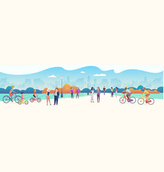 people at big city recreation zone character flat vector image