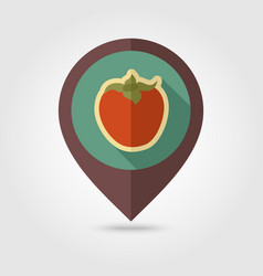 Persimmon flat pin map icon tropical fruit vector