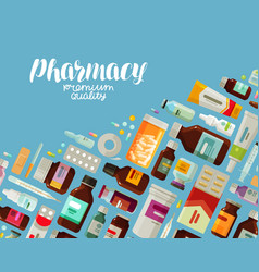 Pharmacy pharmacology banner medicine bottles vector