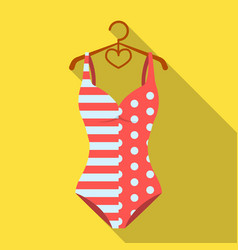 pink swimsuit for the beach stripe and star vector image