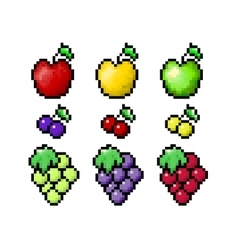 pixel fruits set vector image