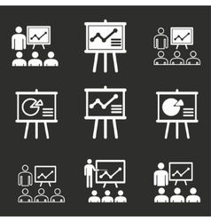 Presentation icon set vector