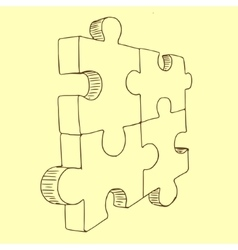 Puzzles pieces sketch vector