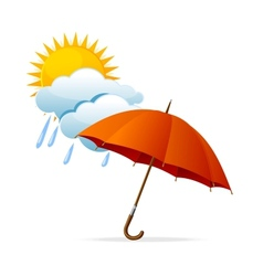 rainy weather icon with clouds and umbrella and vector image