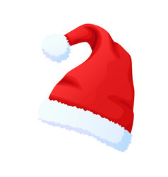 red santa claus hat new year cap isolated vector image