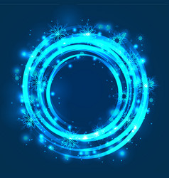 round glowing frame with sparks and snowflakes vector image