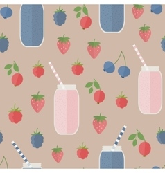 Seamless background Smoothie and berries vector image