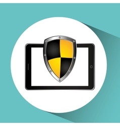 security technology padlock system cellphone vector image