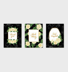 set luxury wedding invitation with gold vector image