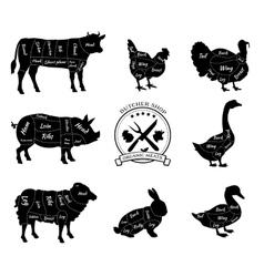 Set schematic vew of animals for butcher shop vector
