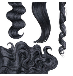 Shiny long black fair straight and wavy hair vector