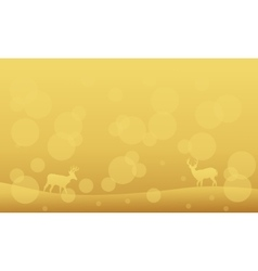 Silhouette of deer on yellow backgrounds Christmas vector